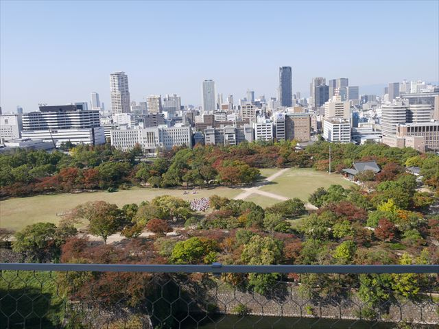 大坂城からの眺め、西ノ丸庭園