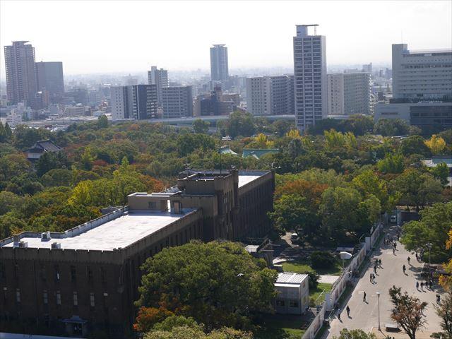 大阪城天守閣の展望台から見た眺め、大阪市立博物館