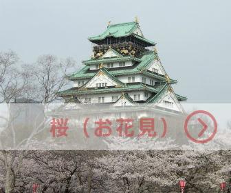 大阪城天守閣と満開の桜