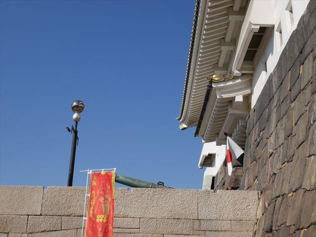 大阪城天守閣、大砲横の階段