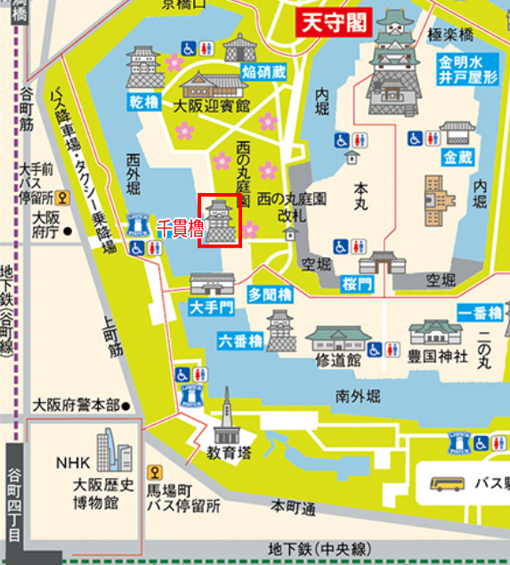 大坂城「千貫櫓」地図