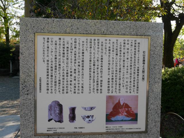 蓮如上人袈裟懸けの松の説明文「石山本願寺と大阪(大坂)」