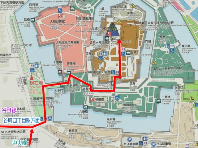 地下鉄谷町四丁目駅から大阪城天守閣までのルートマップ