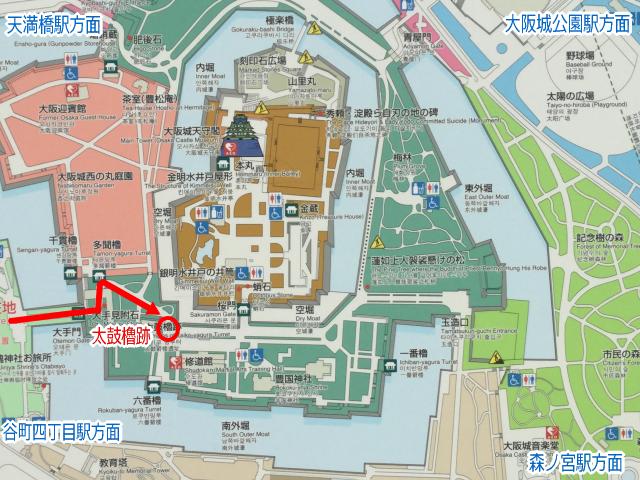 大阪城「太鼓櫓跡」地図