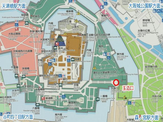 大阪城「玉造口」地図