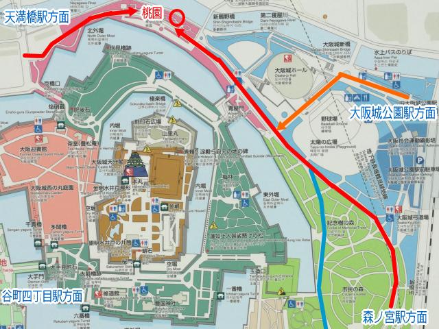 大阪城公園「桃園」地図