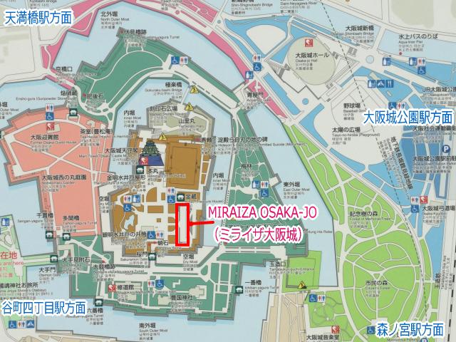 MIRAIZA OSAKA-JO(ミライザ大阪城)」地図