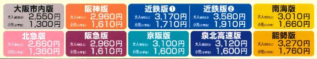 大阪海遊きっぷ各沿線価格表