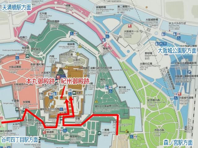 大阪城「本丸御殿跡・紀州御殿跡」地図