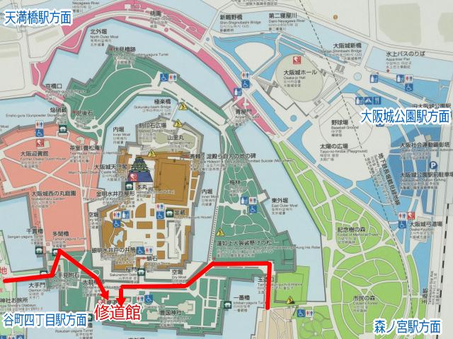 大阪城公園「修道館」地図