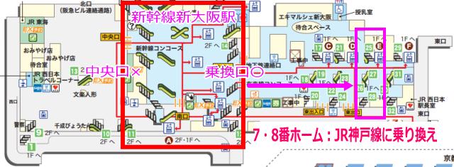 新幹線「新大阪駅」から在来線神戸線への乗り換え地図