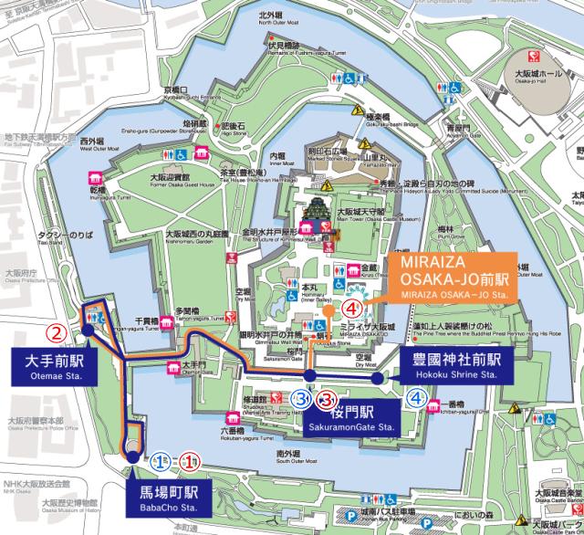 大阪城公園エレクトリックカー地図