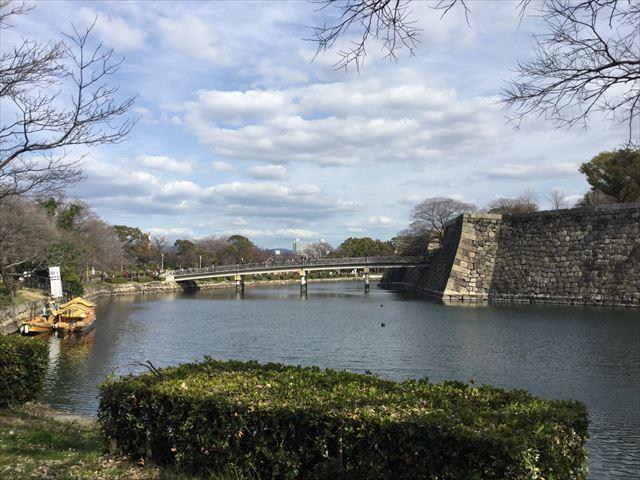 大阪城公園、内堀と極楽橋、御座船乗り場