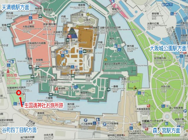 大阪城「生国魂神社お旅所跡」地図