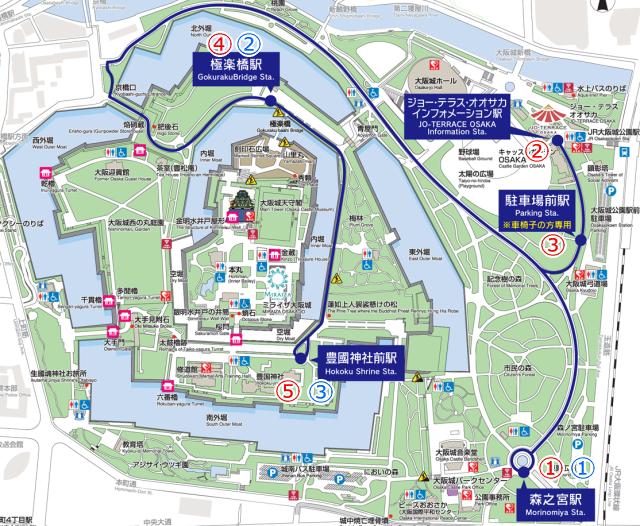 大阪城公園ロードトレイン地図
