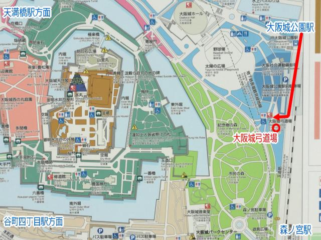 大阪城公園「弓道場」地図