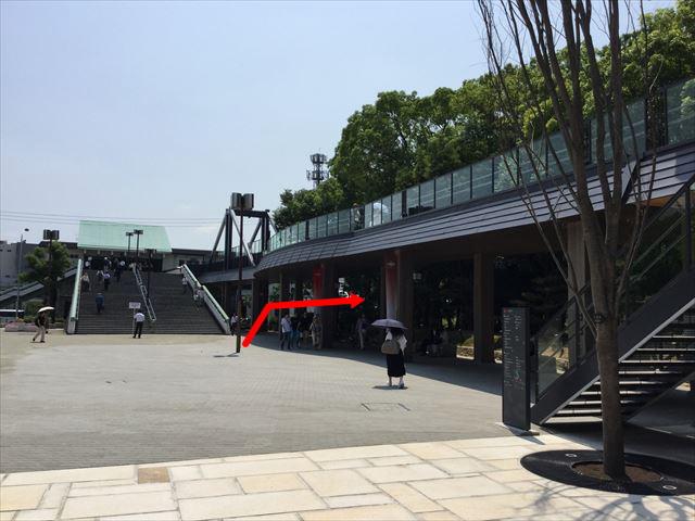 JR大阪城公園駅の階段を下りたところ