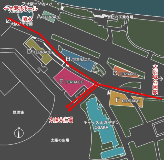 JR大阪城公園駅と大阪ビジネスパーク駅から「太陽の広場」への地図