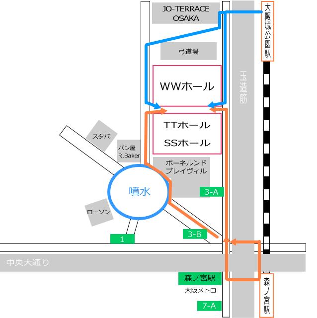 WWホール、TTホール、SSホール(COOL JAPAN PARK OSAKA)マップ(大阪城公園駅からと森ノ宮駅からの行き方矢印付き)